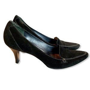 Cole Haan Suede Pump Black Loafer Heel 8.5